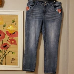 Ruff Hewn floral embroidered jeans